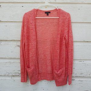 J. Crew Coral Linen Blend Cardigan Sweater
